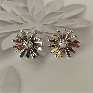 Authentic Pandora Pave Daisy Flower Earrings
